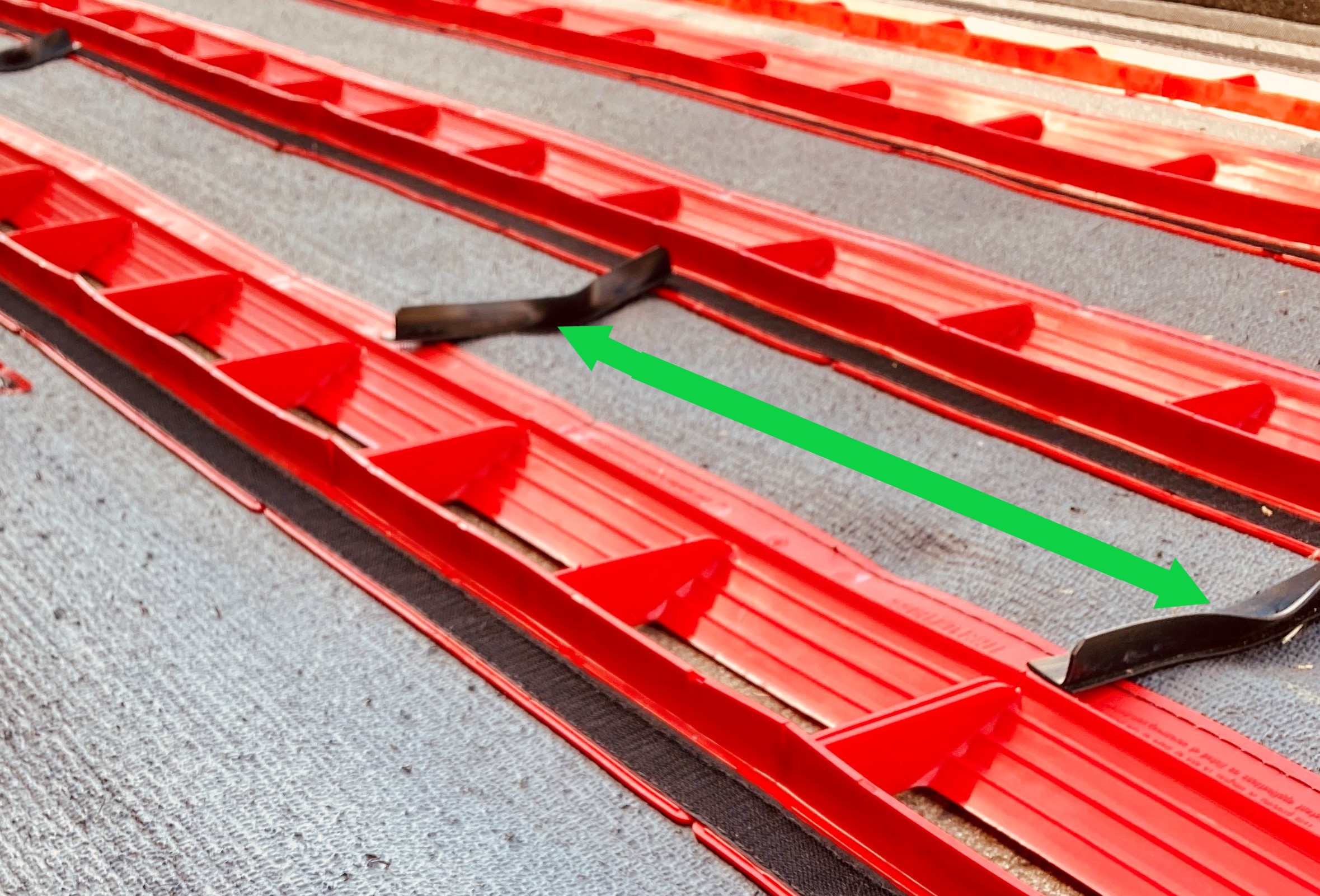 FOD Retention Barriers Exposed Close Up With Arrows